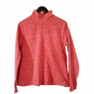 Heathered Coral Fleece Half Zip Sweatshirt Sweater